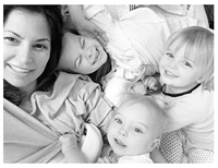 Megs and kids BW